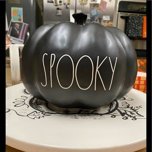 Rae Dunn Black SPOOKY Large Pumpkin 🎃👻  HalloFUN